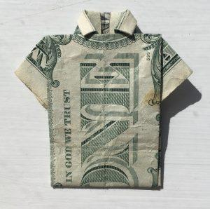 EASY Tutorial Dollar Origami T-shirt How to fold dollar bill into ... | 298x300